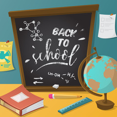 Back to school. Collection of school supplies in cartoon style. Vector illustration