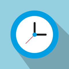 The clock on blue background with shadow