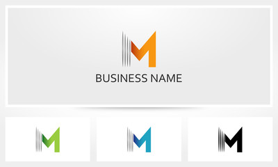 Letter M Line Stripe Logo