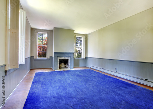 Empty Blue Living Room Interior With Antique Fireplace Stock Photo