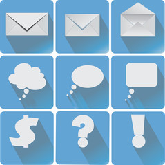 Vector. Set of flat simple web icons (envelope, the message, dollar sign, question mark, exclamation icon, the message)
