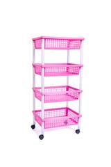 Pink bin rack shelf with wheels isolated on white