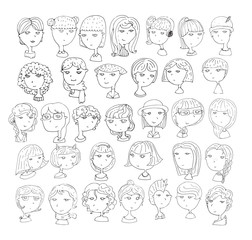 Set of handdrawn girls heads. 33 different hairstyle, smiling faces, with accessories, hats, cat ears, headphones. Black and white hand drawn vector illustration, isolated on white background.