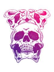 Terrible frightening skull. Creepy illlustration