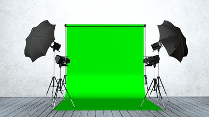 Modern Photo Studio with Green Screen and Light Equipment