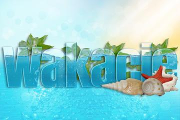 Fototapeta Wakacje, lato, napis wypełniony wodą, muszle i rozgwiazda w tle obraz
