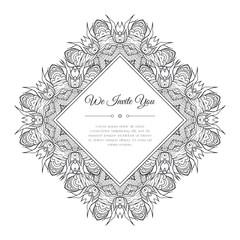 Black and white hand drawn doodle frame. Abstract floral zentangle background. Good for cards, invitations, wedding, t-shirt, brochure, flyer, calendar. Monochrome coloring page. Vector illustration.