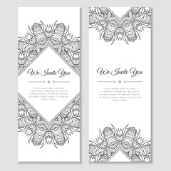 Set of cards or banners with mandala zentangle ornamental frame. Indian mehndi east style. Good for wedding invitation, decoration, greeting, poster, birthday, mother's day, flyer. Vector illustration