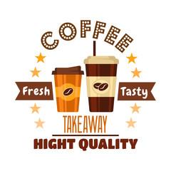 Premium takeaway coffee drinks symbol design