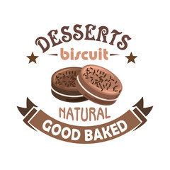 Chocolate pastries and biscuits badge design