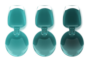 Nail polish leaking out of the bottle. Maniqure and pediqure varnish. Vector illustration