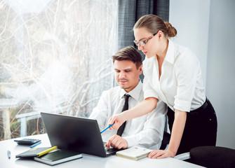Woman adviser with a businessman