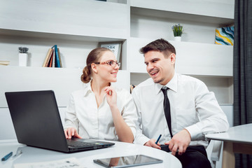 Woman adviser with a businessman