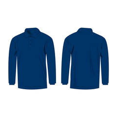 blue polo with long sleeve isolated