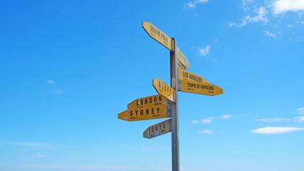 Signpost at Cape Reigna, New Zealand