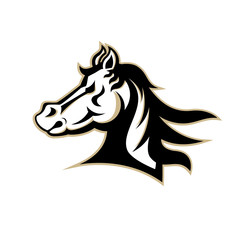 logo template with horse head. Sport team logo.