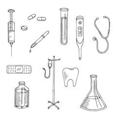 Medical graphic art black white isolated set illustration vector
