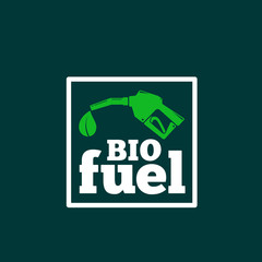 Vector Logo or Sign Template. Abstract Bio Fuel Concept. Fueling Pistol and a Leaf Symbol with Typography. On Dark Green Background