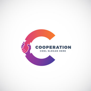 Cooperation Abstract Vector Sign, Symbol or Logo Template. Hand Shake Incorporated in Letter C Concept.
