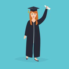 Graduate girl in the mantle keeps in hands graduation diploma. U