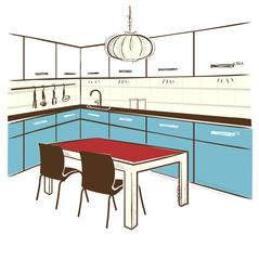 Modern kitchen room.Vector color sketchy illustration on white