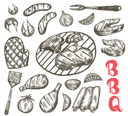 Grill Sketch food set. BBQ food is sausages, ribs, shrimp, salmon, steak, vegetables, chicken. Vector Illustration