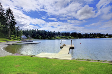 Beautiful water view with wooden dock.