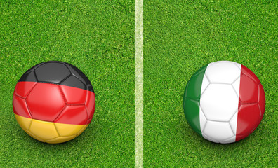 Team balls for Germany vs Italy football tournament match, 3D rendering