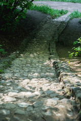 Stone stairs leading down in the park