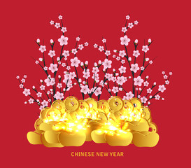 Chinese Lunar New Year with blossom and gold