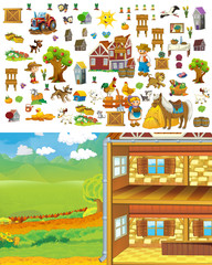 Cartoon farm scene - template for matching elements - cut through - stickers - illustration for children