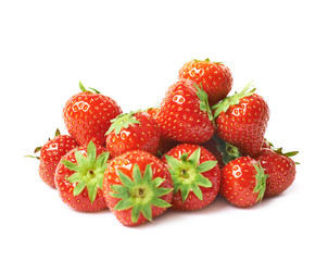 Pile of multiple strawberries isolated