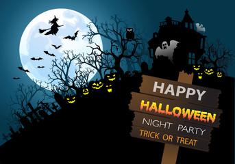 Halloween night party festival holiday vector illustration.
