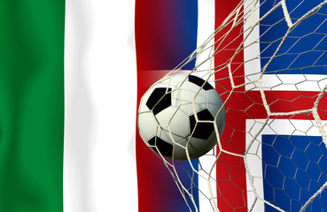 Italy vs Iceland football tournament match.