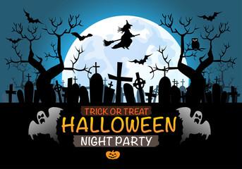 Halloween night party festival vector illustration.