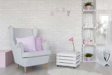 Eco-friendly baby room decor in white