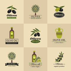 Olive vector logos, labels and emblems