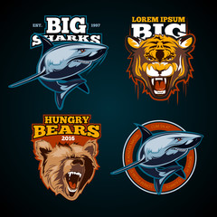 Vintage animal vector color labels, badges, emblem, logo, insignia, sign, identity, logotype for sports team poster