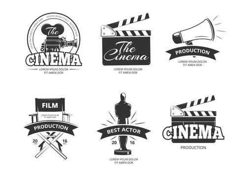 Cinema vector vintage labels, emblems, badges set
