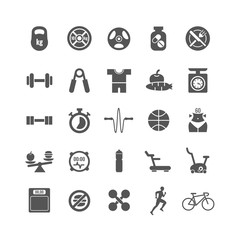 Fitness, sports, gym vector black icons set