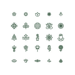Wall Mural - Flowers line vector icons