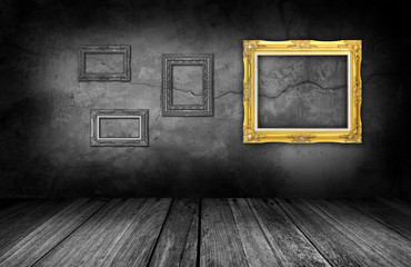 frame on gray stone wall background in interior room