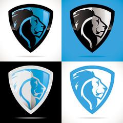 logo bouclier lion sécurité bleu