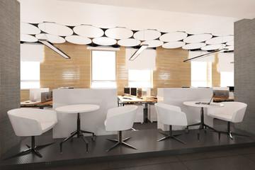 Empty modern office interior work place