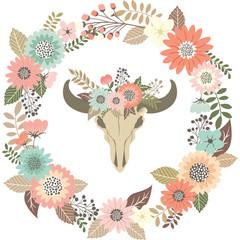 Bull Skull Floral with Wreath Laurel.Tribal Animal Skull.Wedding Invitation.