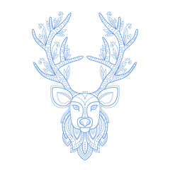 Deer Head Stylised Doodle Zen Coloring Book Page