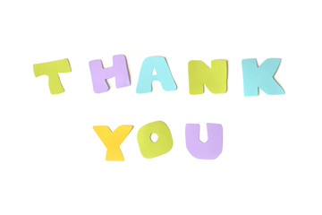 Thank you text on white background - isolated