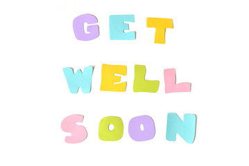 Get well soon text on white background - isolated