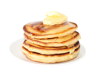 Pancakes with liquid honey (image with clipping path)