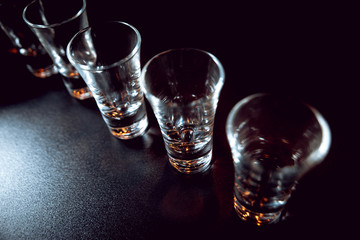 Glasses with alcohol